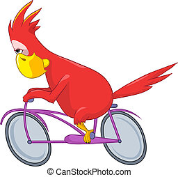 Funny Parrot Biker - Cartoon Character Funny Parrot Isolated...