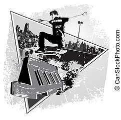 street spirit skater - illustration for shirt printed and...