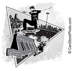 street spirit skater - illustration for shirt printed and...
