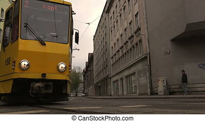 yellow tram in central street