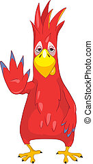 Funny Parrot Stop - Cartoon Character Funny Parrot Isolated...