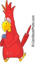 Funny Parrot Prey - Cartoon Character Funny Parrot Isolated...