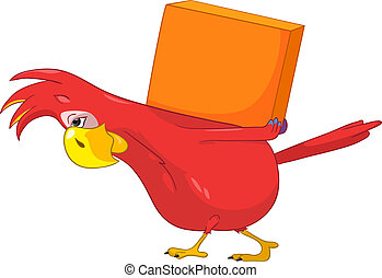 Funny Parrot. Delivery. - Cartoon Character Funny Parrot...