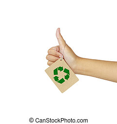 women's hand make thumbs up hung with recycle banners...