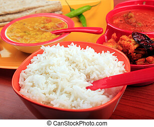Traditional indian rice, chapatti & dal curry