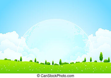 Green Background with Moon in the Sky