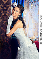 charming bride - Beautiful bride in a luxurious restaurant....