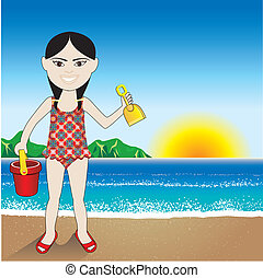Beach Sand Chinese Girl Background - Vector Illustration of...