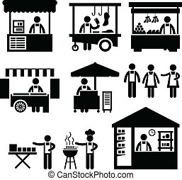 Business Stall Store Booth Market - A set of pictogram...
