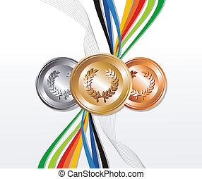 Ouro, prata, bronze, medalha, fitas, fundo