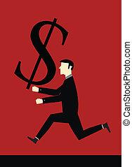 Businessman bring dollar