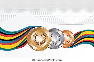 Gold, silver and bronze medals with ribbons background -...