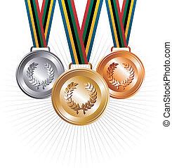 Ouro, prata, bronze, medalhas, fitas, fundo