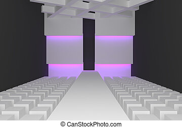 Empty fashion runway purple color lighting and black wall.