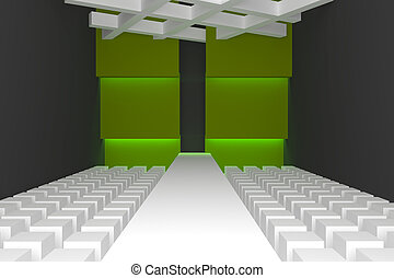 Empty fashion runway purple color lighting and green wall.