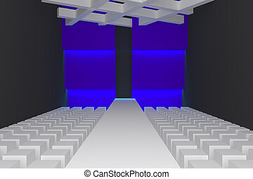 Empty fashion runway purple color lighting and blue wall.
