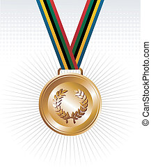 Gold medal with ribbons background - Sport gold medal with...