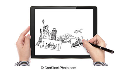 Business man write travel plan on touch screen device