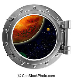 Porthole with a view of space on a white background