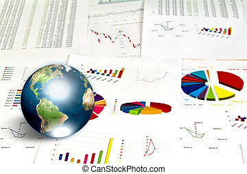 Business graph with earth (Elements of this image furnished by NASA)