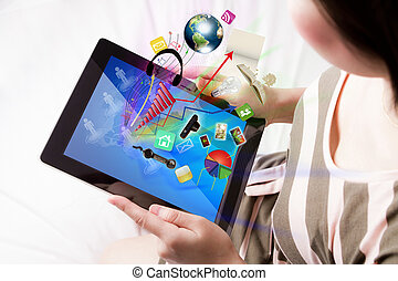 Woman reading the touch screen device (Elements of this...