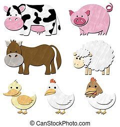 a set of animal farm pastel color
