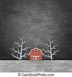 A red house in the night