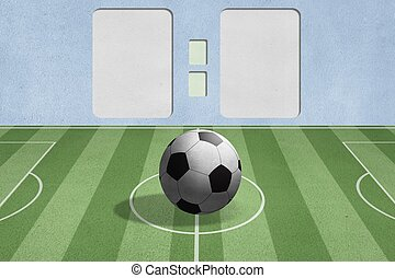 soccer ball on the field with score