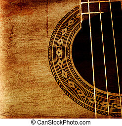 a part of classical guitar in grunge retro background