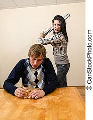 doméstico, violence:, esposa, Tratar, Golpe, ella,...