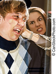 Office revenge: Woman pressed man to the glass