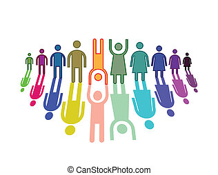 Color people in horizontal line