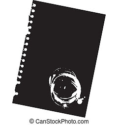 Close up of blank notepad paper with spots - illustration