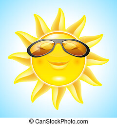 Smiling Sun with Sunglasses Cool Cartoon Character for...