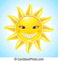 Smiling Sun - Happy Hot Smiling Sun. Cool Cartoon Character...