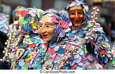 Mask parade at the historical carnival in Freiburg, Germany...