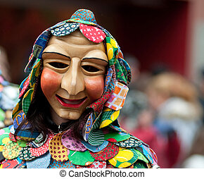 Mask parade at the historical carnival in Freiburg, Germany