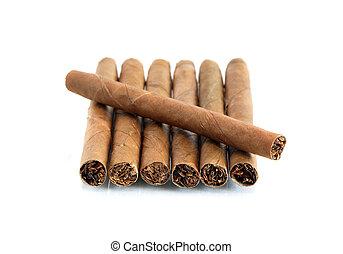 Cigarros, en, blanco