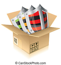 Cardboard Box with Shield Safety - Open Cardboard Box with...