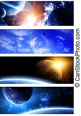 Collection of space banners - Set of space banners. A...