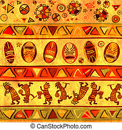 Seamless background with african traditional patterns -...