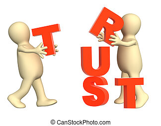 Trust - Conceptual image - success of teamwork Isolated over...