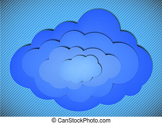 Vector cloud background on a striped background. Eps10