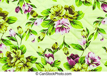 Fragment of retro colorful textile pattern with floral ornament