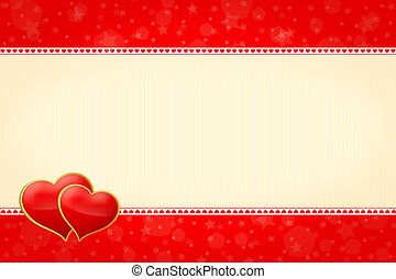 horizontal frame with two hearts