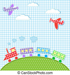aircrafts and train - Baby background with aircrafts and...