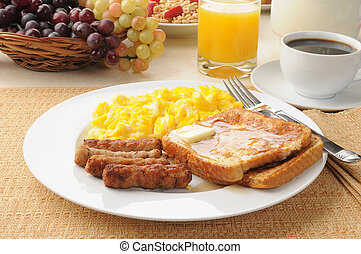 Link sausage and french toast breakfast - A healthy...
