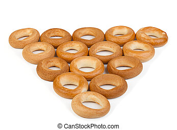 Culinary product bagels isolated on a white