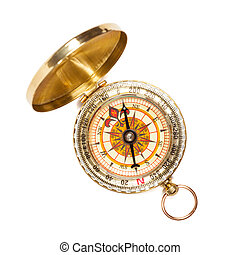 Vintage golden compass isolated - Old vintage retro golden...