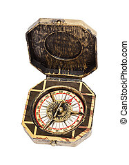 Old vintage compass isolated - Old vintage retro compass...